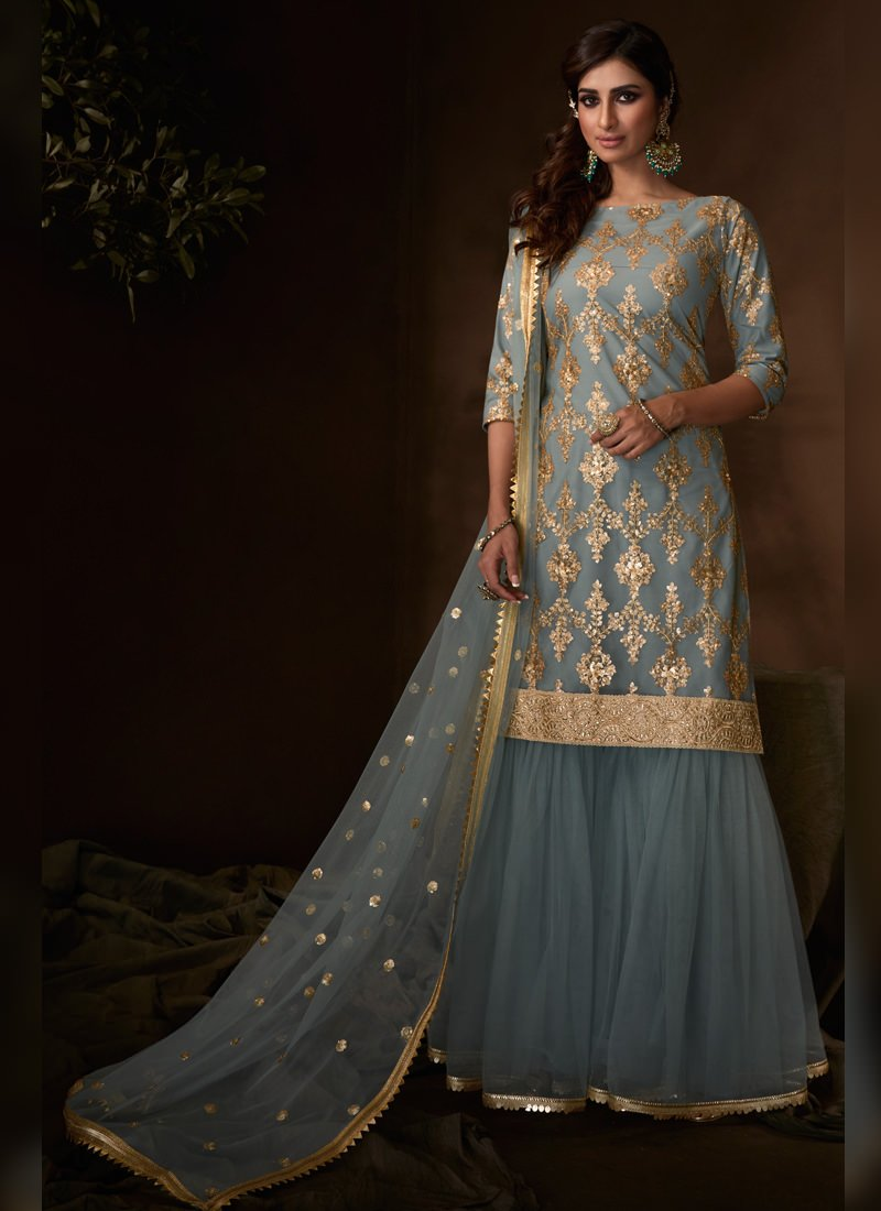 grey colour sharara dress