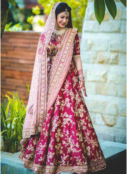 Velvet Wedding Lehenga Choli For Bride
