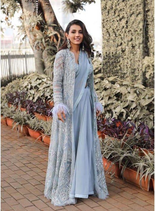Jacket Style Wedding Party Wear Saree