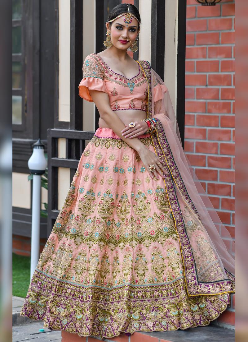 Sparkling Light Peach Colored Silk Base Flared Designer Lehenga Choli