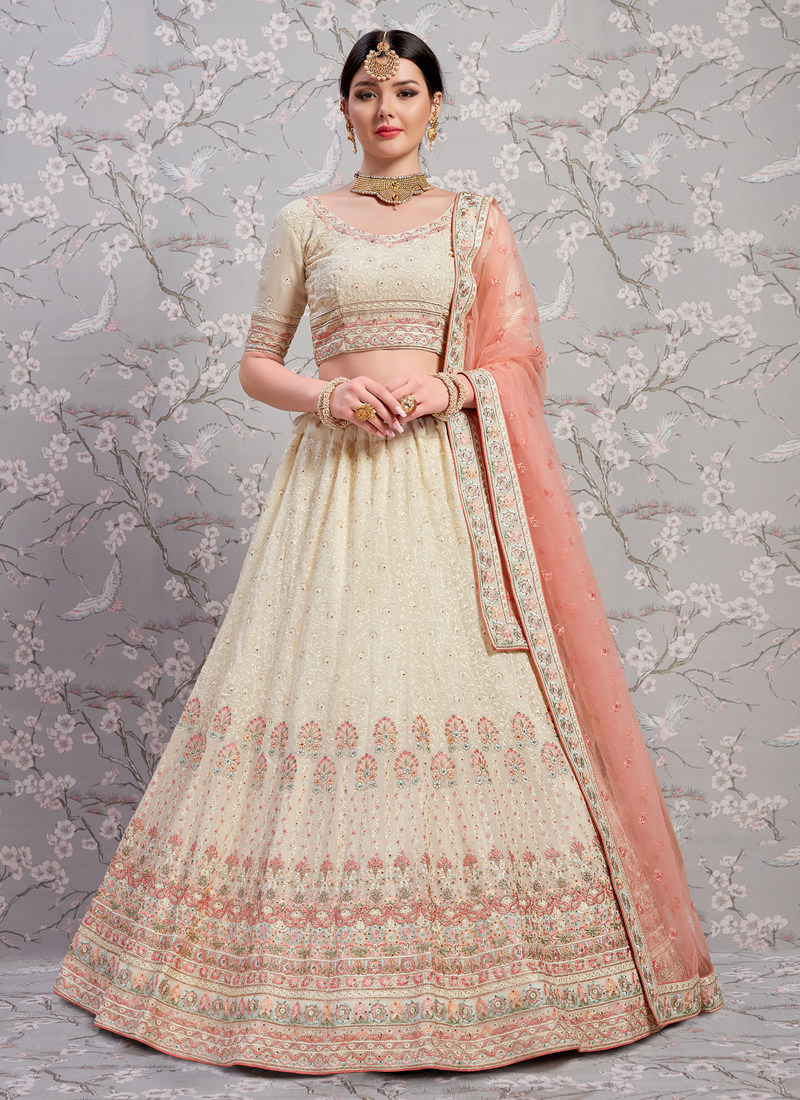 Gorgeous Off-White Georgette Base Zari Work Designer Lehenga Choli