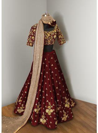 Maroon Elegance  Lehenga Choli With Beige Net Dupatta