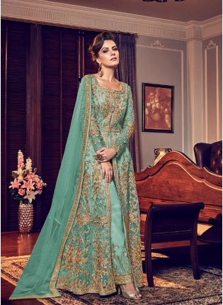 Sky Blue Color Party Wear Designer Wedding Wear Slit Cut Anarkali Suit