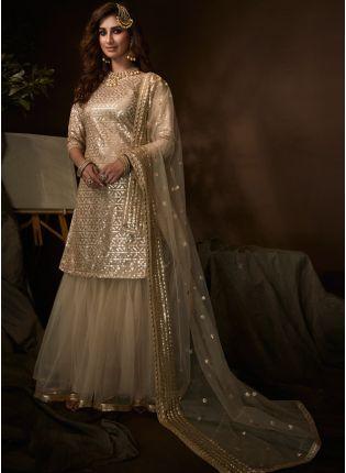Tempting Beige Soft Net Festive Wear Sequin Work Sharara Suit