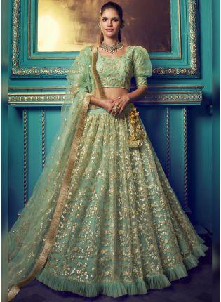 Sparkling Sea Green Soft Net Wedding Special Designer Lehenga Choli