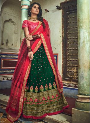Delightful Dark Green Soft Net Base Ethnic Intricate Work Lehenga Choli