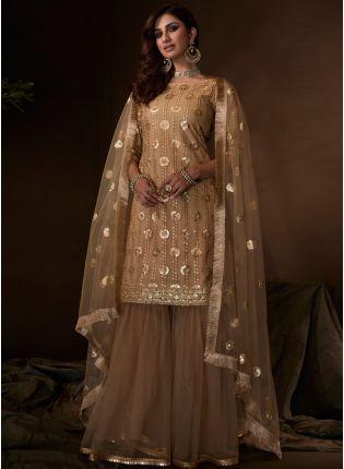 Sparkling Festive Wear Beige Colored Soft Net Base Sequin Sharara Suit