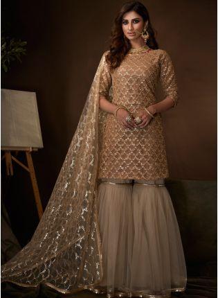 Magnificent Beige Soft Net Base Festive Wear Sequin Sharara Suit