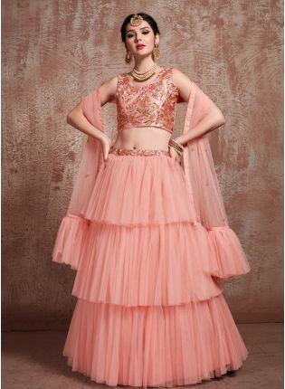 Charming Peach Soft Net Base Ruffle Lehenga Choli For Sangeet Ceremony