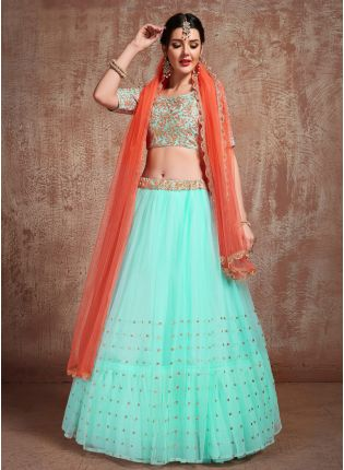 Delightful Sky Blue Color Soft Net Base Flared Lehenga Choli For Your Own Function