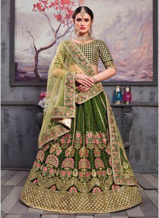 Green Resham Zari Silk Soft Net Lehenga Choli