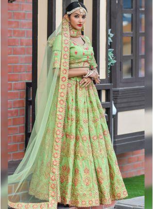 Unbeatable Pista Green Silk Base Designer Embroidered lehenga Choli