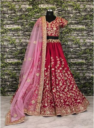 Maroon Banglory Silk Lehenga Choli with Applique Embroidery work.