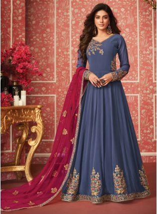 Blue Zari Georgette Floor Length Anarkali Salwar Suit