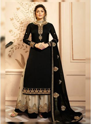 Black Zari And Satin Fabric Palazzo Salwar Suit