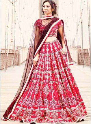 Elegant Pink Wedding Wear Embroidery Work Satin Base Lehenga Choli