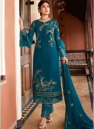 Teal Green Zari And Satin Pant Style Straight Salwar Suit