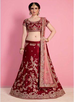 Rose Maroon Heavily Drape Bridal Lehenga Choli