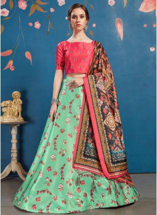 Adorable Teal Green Art Silk Wedding Special Designer Lehenga Choli