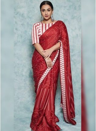 Red Digital Print Festive Silk Printed Bollywood Saree