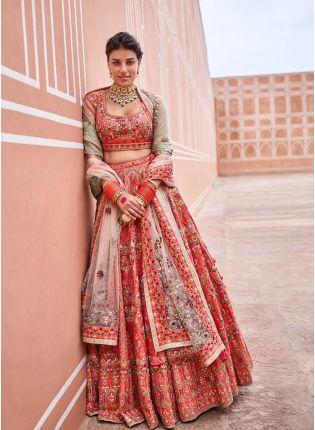 Charming Orange Color Bridal Wear Malai Satin Base Embroidered Lehenga Choli
