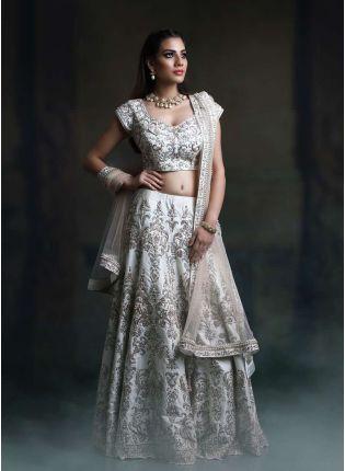 Stylish Off White Color Satin Base Embroidred Designer Lehenga Choli