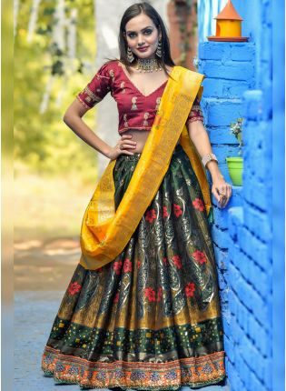 Green Dori Resham Zari Banarasi Silk Lehenga Choli