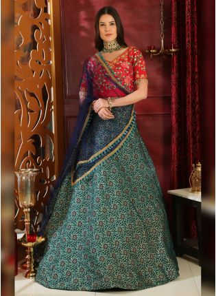 Multi Sequins Silk And Georgette Lehenga Choli