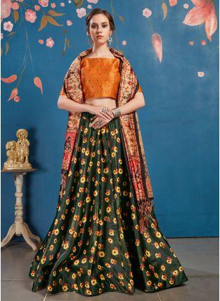 Admirable Olive Green Art Silk Designer Digital Printed Lehenga Choli