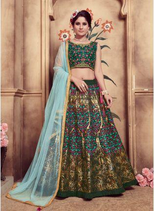 Green Foil Print And Soft Net Silk Lehenga Choli