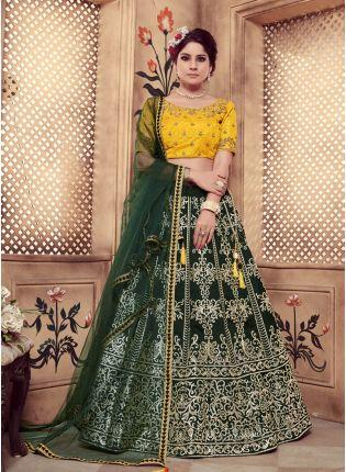 Green Foil Print Sequins And Soft Net Silk Lehenga Choli