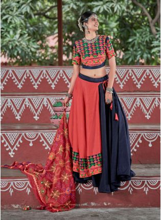 Navy Blue And Orange Color Navratri Special Cotton Base Lehenga Choli