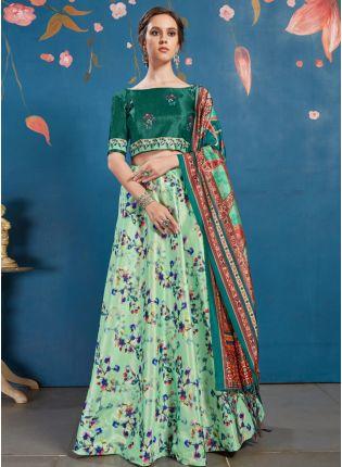 Exotic Sea Green Art Silk Base Digital Printed Designer Lehenga Choli