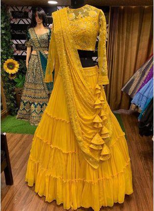 Yellow Resham Sequin Georgette Flared Wedding Ruffle Lehenga Choli