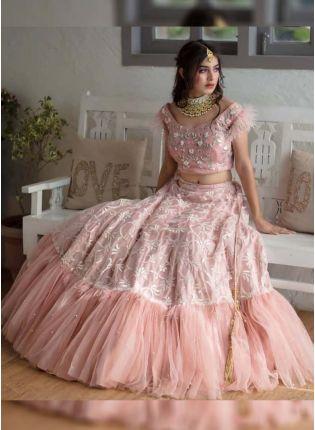 Trendy Pink Color Party Wear Soft Net Base Ruffle Style Lehenga