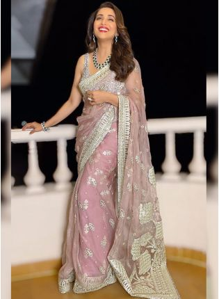 Peach Zari Work Soft Net Bollywood Embroidered Saree