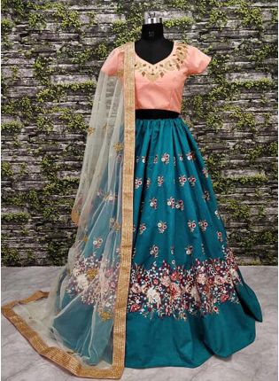 Teal Blue Lehenga Paired With Blush Pink Blouse With Dupatta Set