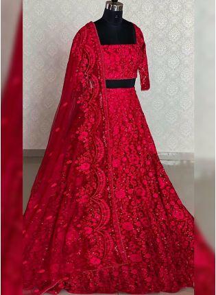 Red Resham And Organza Panelled Bridal Lehenga Choli