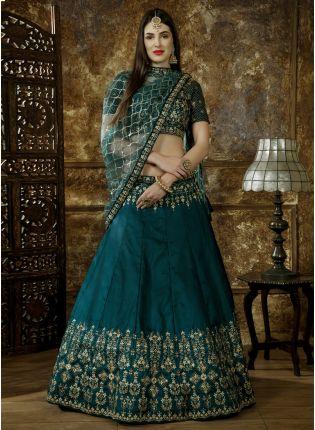 Green Sequins Zari Silk And Soft Net Lehenga Choli