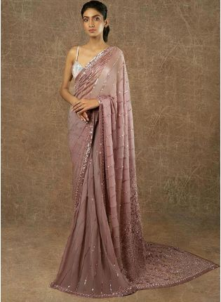 Lilac Sequin And Resham Embroidered Party Wear Saree