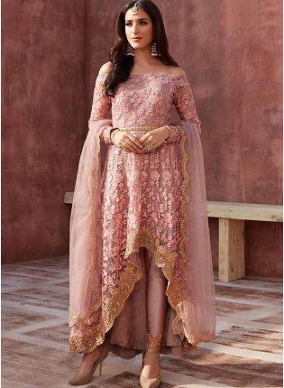 Peach Zari Soft Net Pant Style Pakistani Suit For Reception