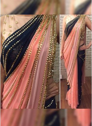 Peach Hand Work Sequin Half N Half Bollywood Party Wear Saree