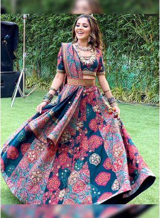 Multi Color Digital Print Satin Panelled Bollywood Lehenga Choli
