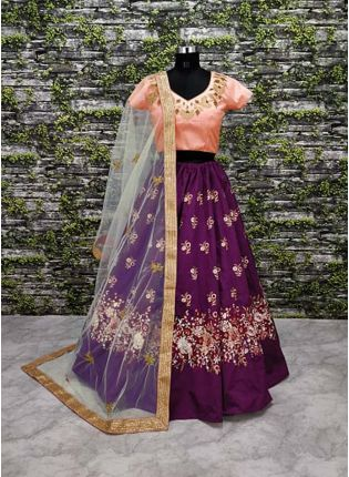 Purple Lehenga Paired With Blush Pink Blouse With Dupatta Set