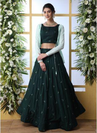 Wonderful Dark Green Cotton Base Jacket Style Designer Lehenga Choli