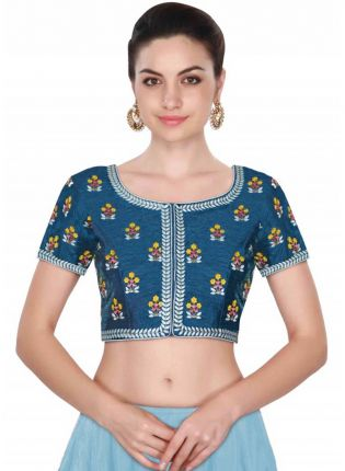 Blue Color Round Neck Embroidered Worked Blouse
