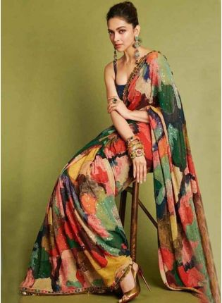Designer Multi Color Georgette Base Party Wear Saree