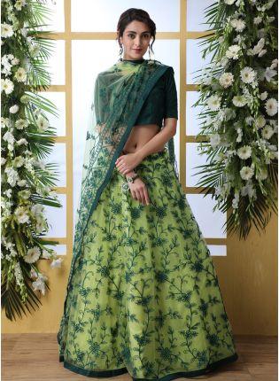 Sparkling Green Soft Net Base Designer Resham Work Lehenga Choli