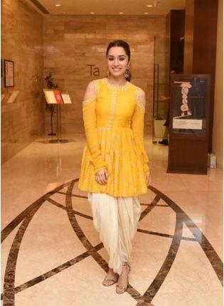 Yellow Zari Georgette Festive Dhoti Style Salwar Suit