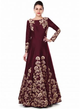 Maroon Gown Adorn In Zari And Sequin In Floral Embroidery